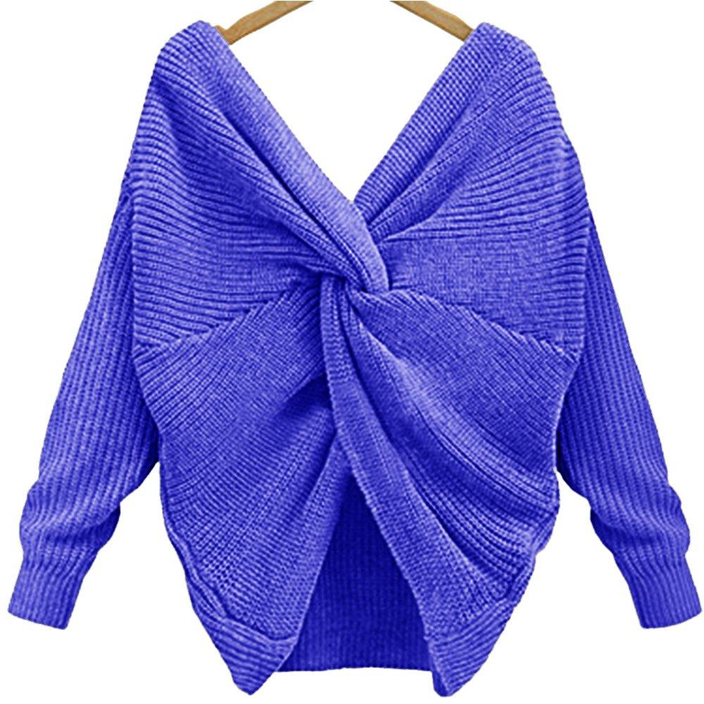 EMMA Mujer Jersey de Punto Primavera Suéter de Cuello V de Espalda ... 7ea3e1211a61