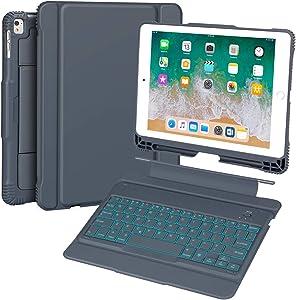 iPad 9.7 Keyboard Case Compatible iPad 9.7 2017(5th Gen), 2018(6th Gen), Pro 9.7, Air 2/1-Detachable Backlit Wireless Keyboard Stand Case/Heavy Duty Shockproof Rugged Case with Stylus Holder-Bluegrey