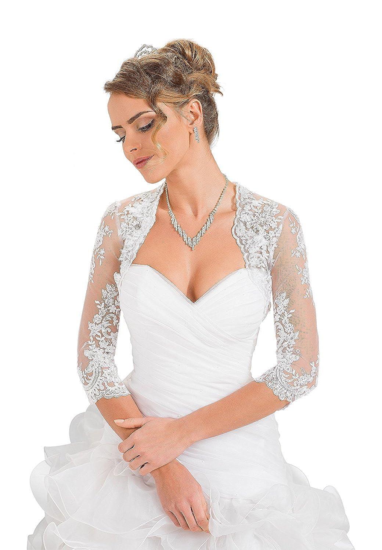 YASIOU Damen Ärmel Top Spitzen Weiß Jacke für die Braut Spitzen Bolero zum XS 3XL Langarm Brautjacke