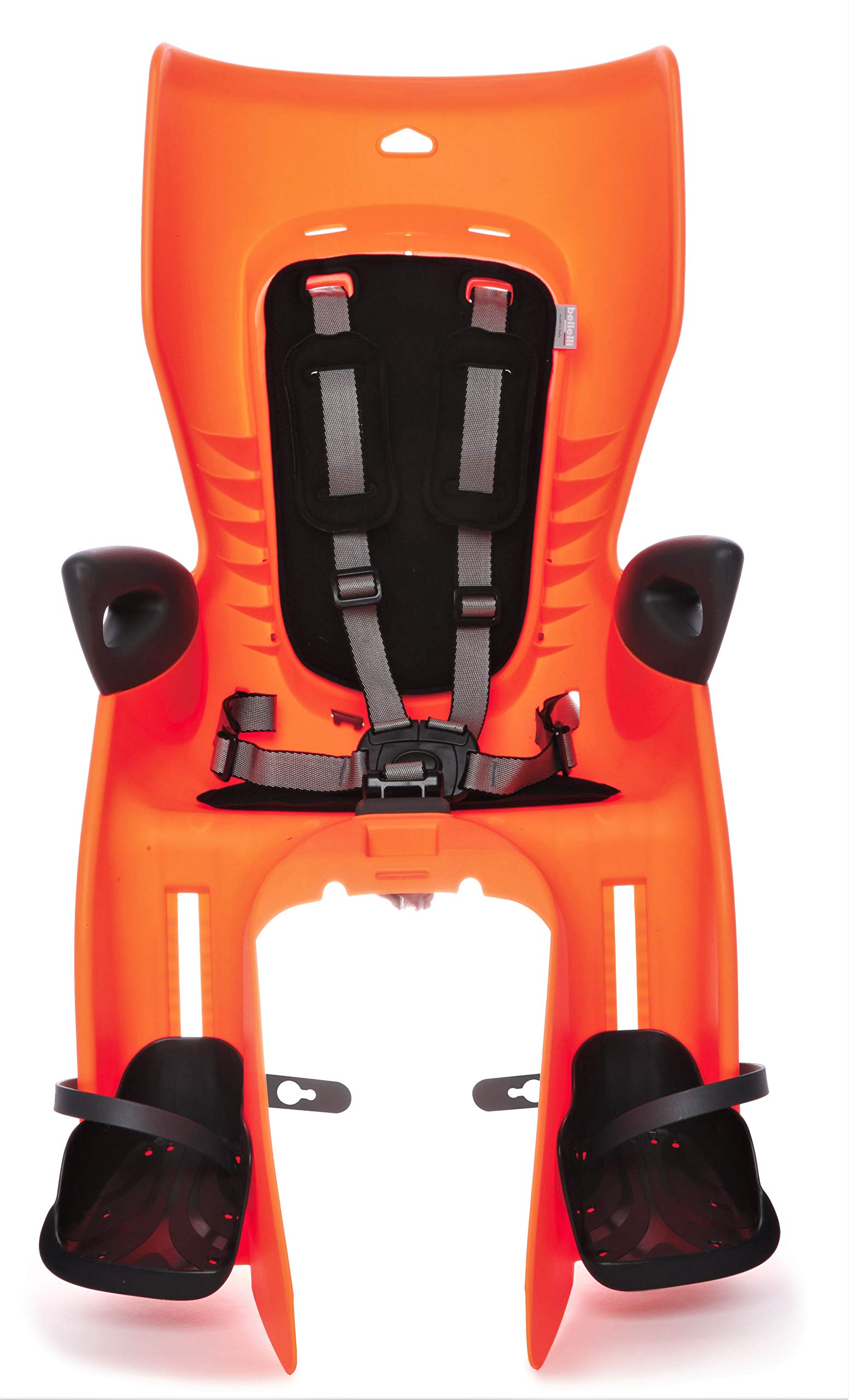 Bellelli Child Bike Seat, Kids Bike Seat Carrier, Child Seat for Bikes, Summer, Clamp with Seat Stay Mount, Orange, Made in Italy