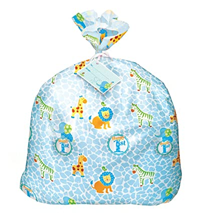 Jumbo Plastic Blue Safari First Birthday Gift Bag