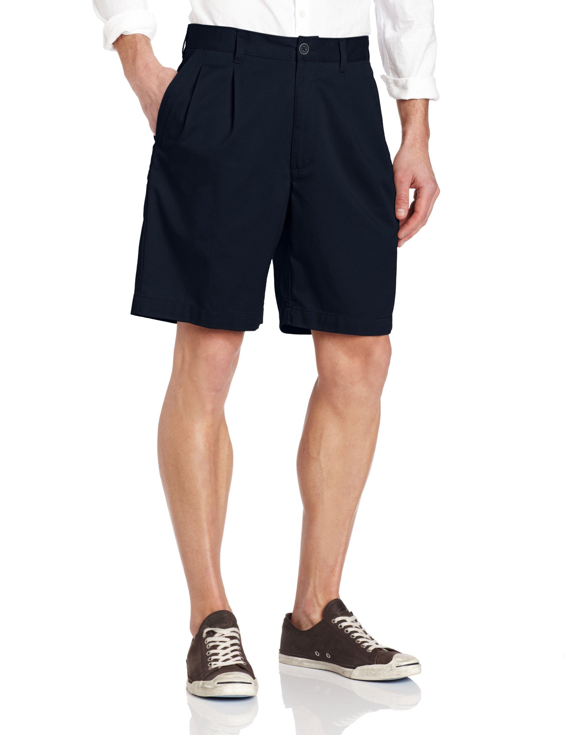Savane Men's Eco-Start Classic Pleat Twill Short, Navy, 34