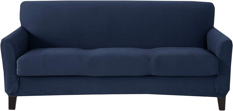 Popcorn Textured Sofa Slipcover. Form Fit, Slip Resistant, Strapless Slipcover. Stretch Sofa Slipcover. Kova Collection (Sofa, Navy)