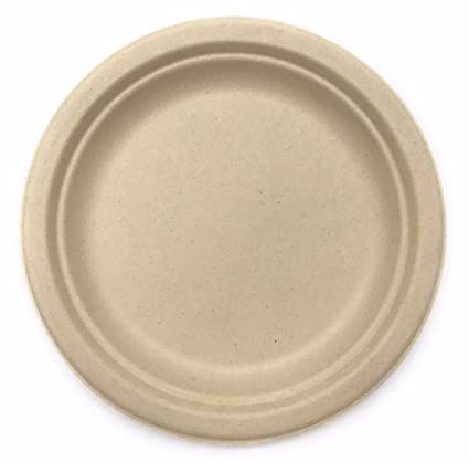 [500 COUNT] 9u0026quot; in Round Disposable Plates - Natural Sugarcane Bagasse Bamboo Fibers  sc 1 st  Amazon.com & Amazon.com: [500 COUNT] 9