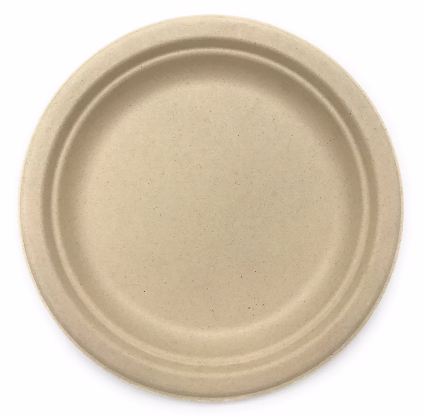 [500 COUNT] 9'' in Round Disposable Plates - Natural Sugarcane Bagasse Bamboo Fibers Sturdy Nine Inch Compostable Eco Friendly Environmental Paper Plate Alternative 100% by-product Tree Plastic Free