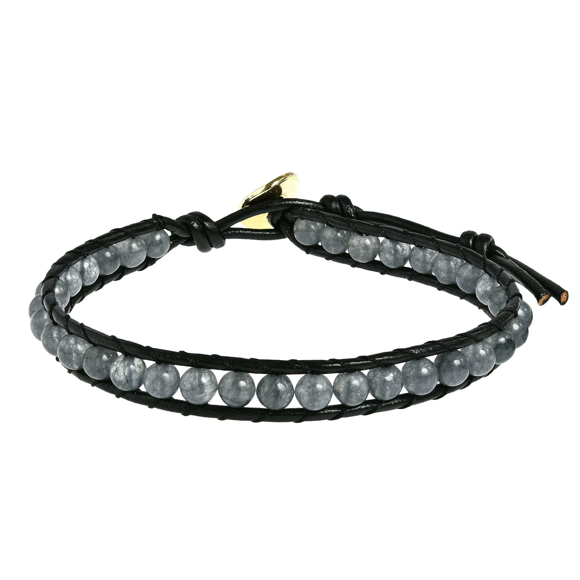 AeraVida Simulated Smokey Quartz Round Charm Single Strand Leather Bracelet