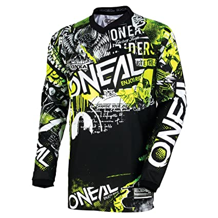 6d566fbbb Image Unavailable. Image not available for. Color  O Neal Unisex-Adult Element  Attack Jersey Black Hi-Viz Youth Medium