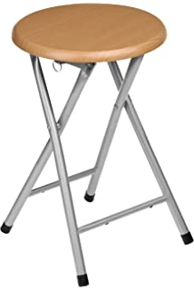 premier housewares natural rubberwood folding stool with silver legs 45 x 30 x 30 cm