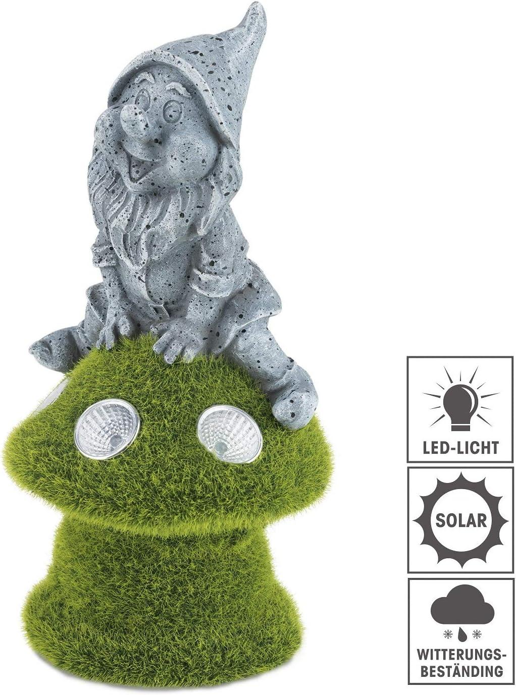 EASYmaxx 08379 - Enanito de jardín solar con luz LED, resistente a la intemperie, sensor de luz diurna para encendido y apagado automático, aspecto de musgo, color gris: Amazon.es: Iluminación