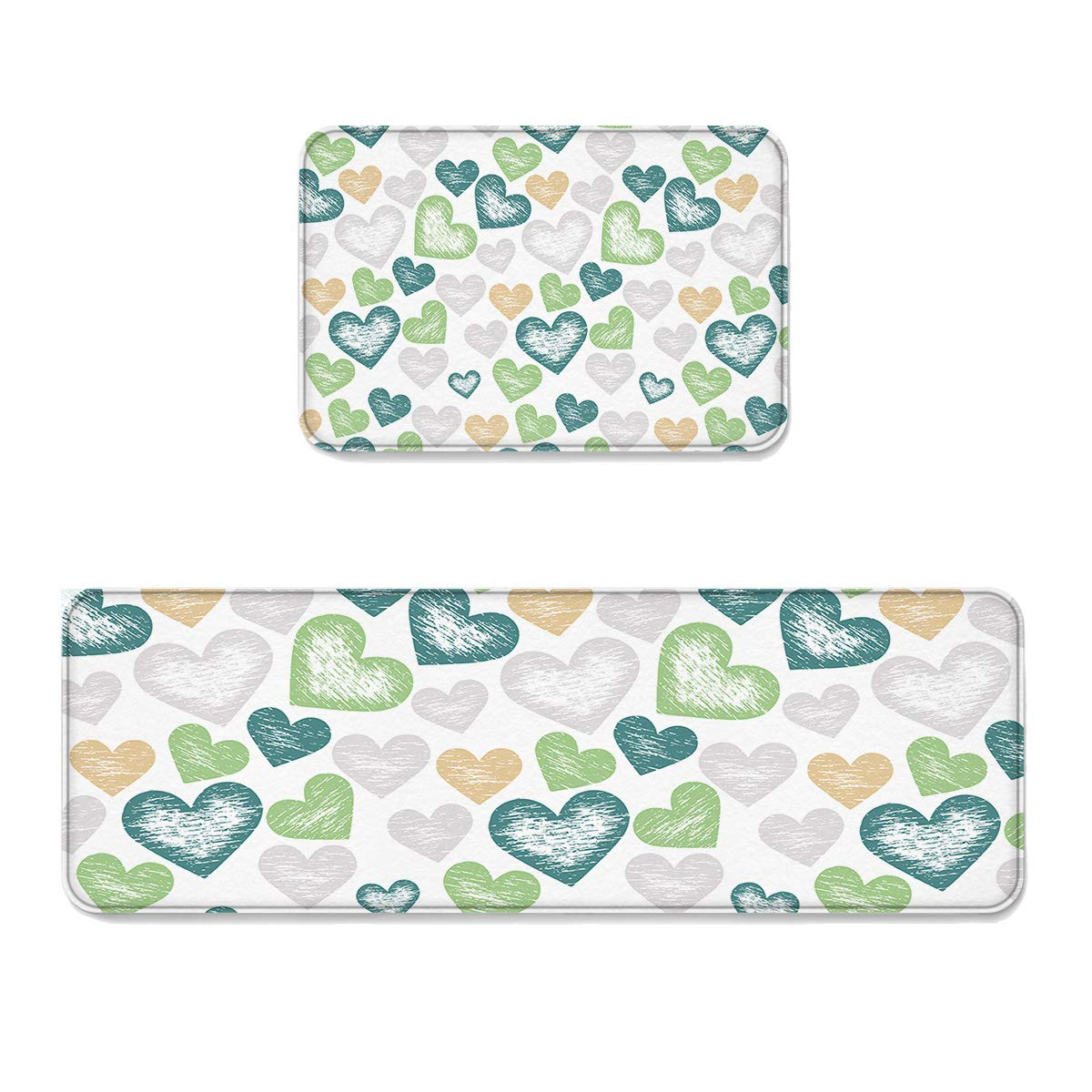 Happy Valentine's Day3003lfsr7991 23.6\ Kitchen Rug Sets 2 Piece Floor Mats Non-Slip Rubber Backing Area Rugs Simple Plain Hand Drawn Sketch Hearts Pattern Doormat Washable Carpet Inside Door Mat Pad Sets (23.6  x 35.4 +23.6  x 70.9 )
