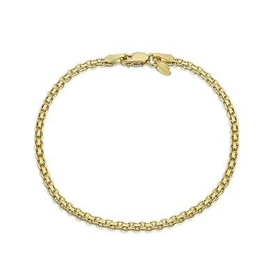 bas prix 26174 2dceb Amberta® Bijoux - Bracelet - Chaîne Argent 925/1000 - Plaqué Or 18K -  Maille Bismarck - Largeur 2.2 mm - Longueur 18 19 20 cm