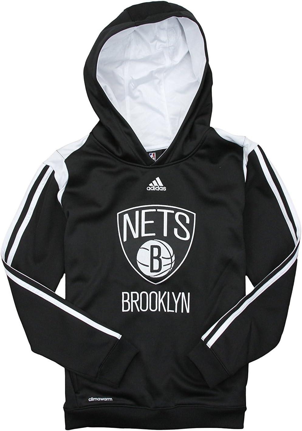 adidas Brooklyn Nets NBA Grands garçons sur Cour Sweat à Capuche – Noir