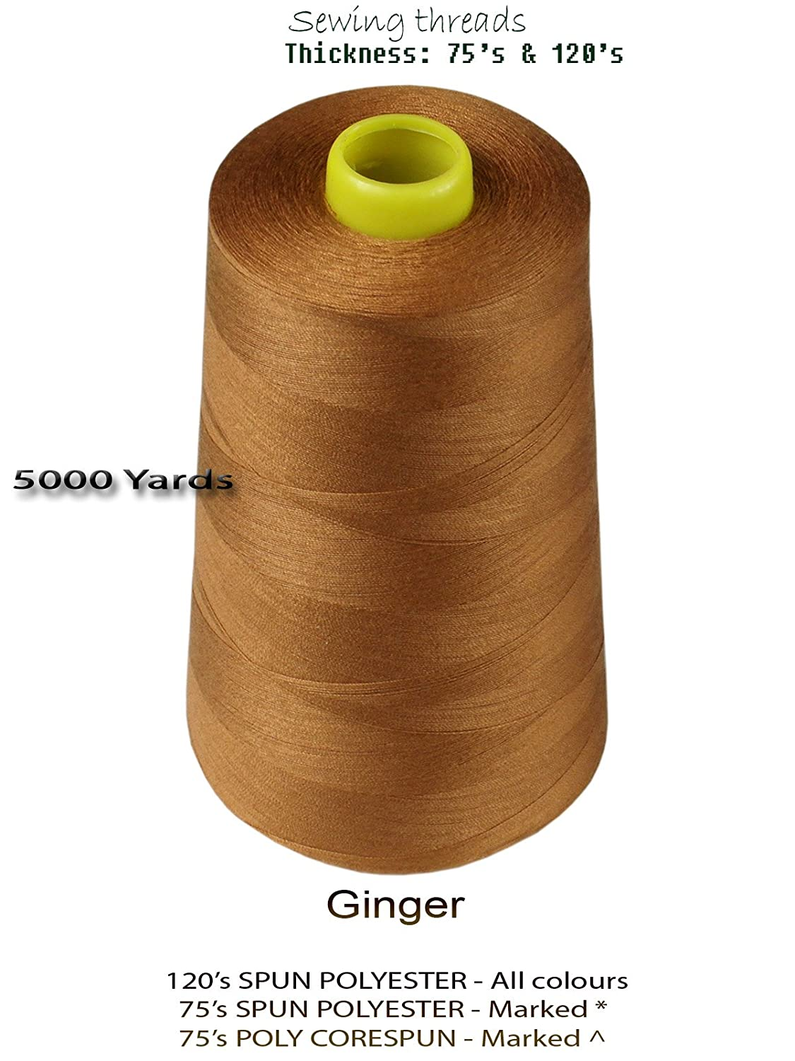 Sewing Thread Spun Polyester 5000 Yards Industrial Ginger Threads Over Locking Cones Pack Of 4 120s Kitchen Home