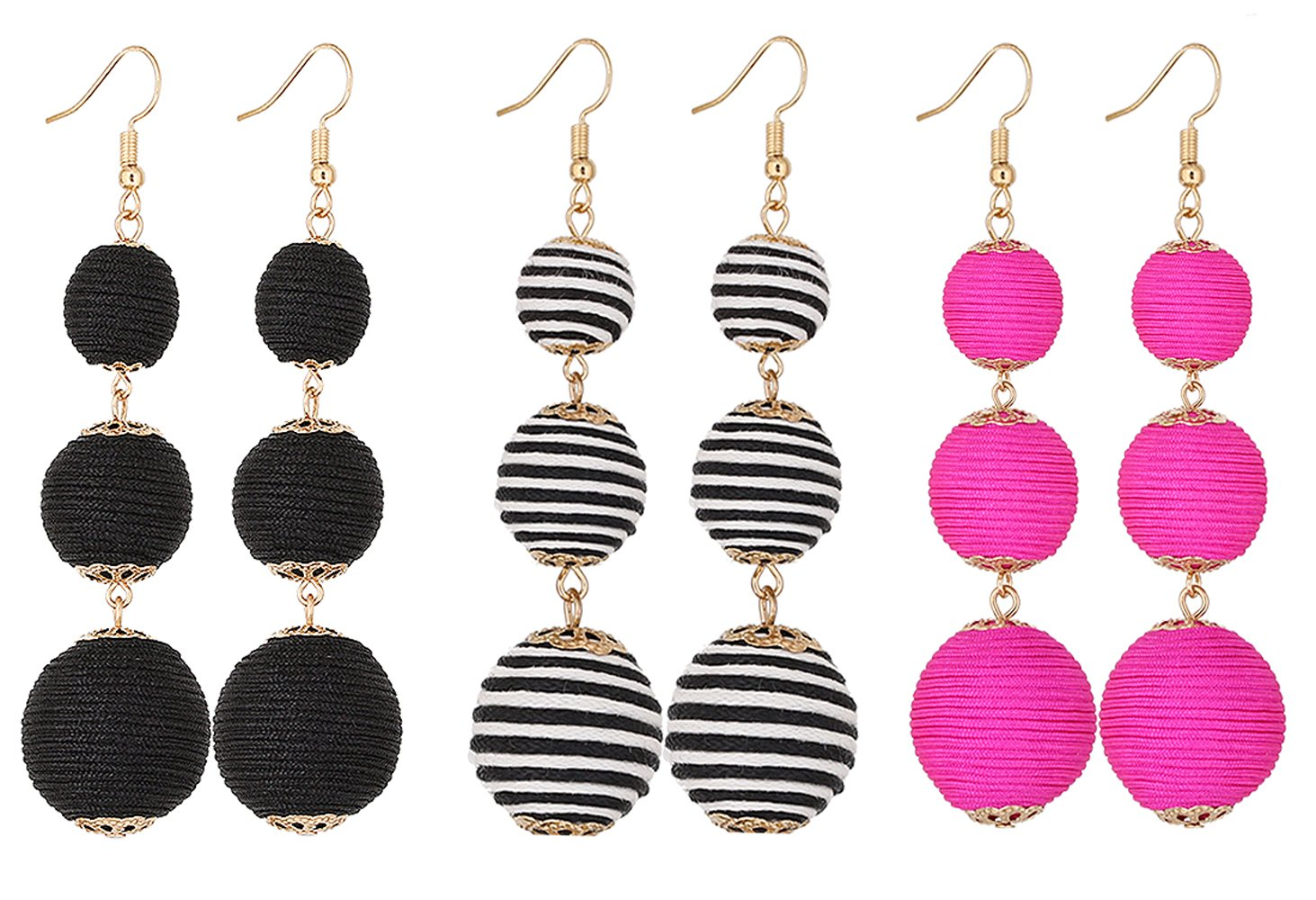 VK Accessories Thread Ball Dangle Earrings Thread Dangle Earrings Soriee Drop Earrings (3 pairs 02)