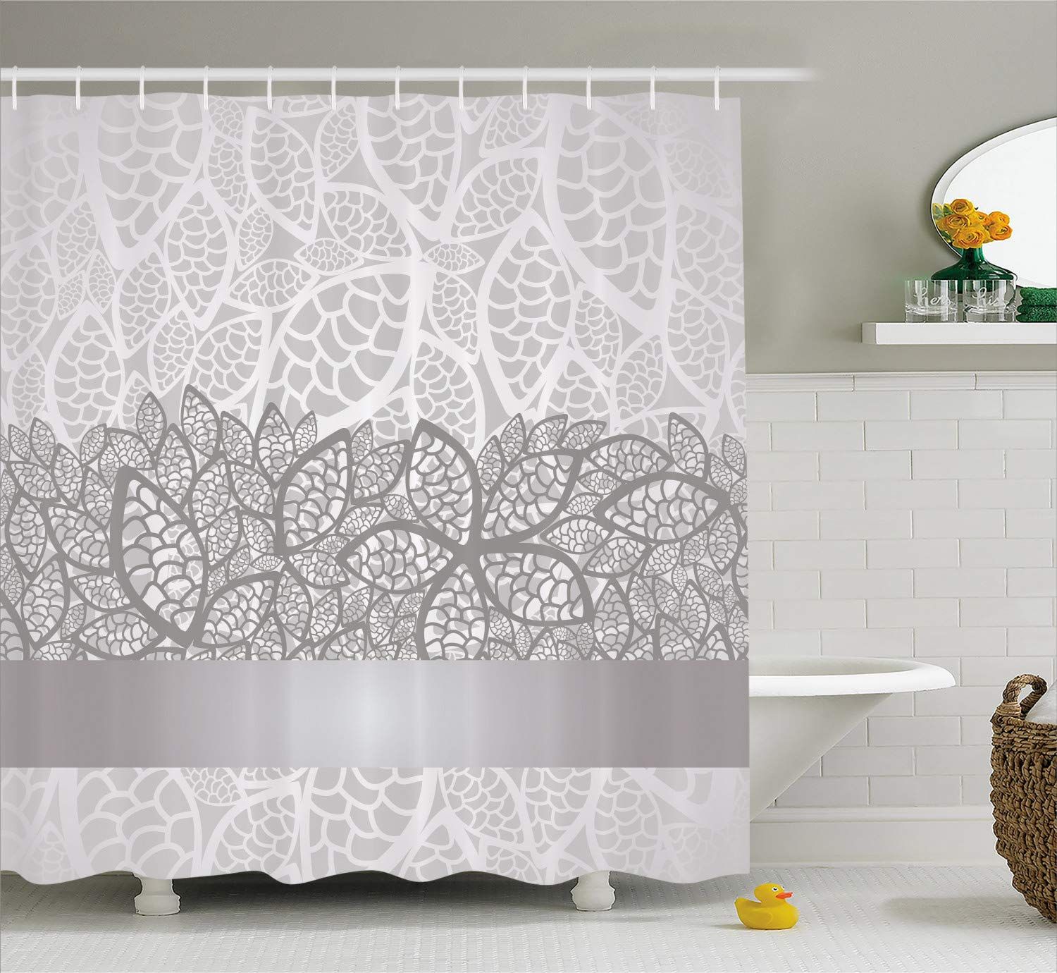 Ambesonne Grey Shower Curtain, Lace Inspired Flower Motifs Bridal Composition Leaves Wedding Theme, Cloth Fabric Bathroom Decor Set with Hooks, 75'' Long, Gray Silver