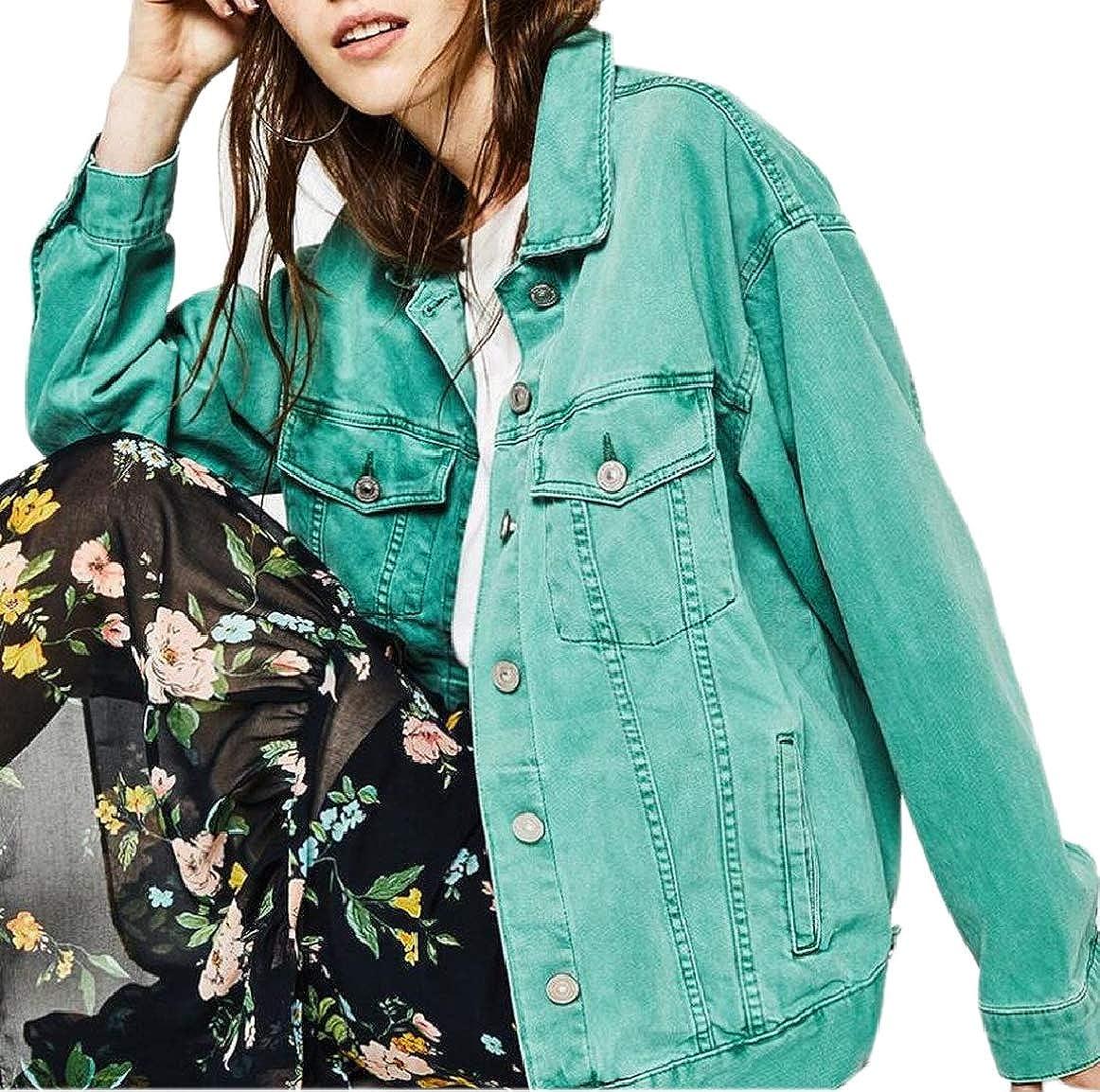 Green pujinggeCA Women Boyfriend Candy color Retro Loose Fit Coat Washed Denim Jacket