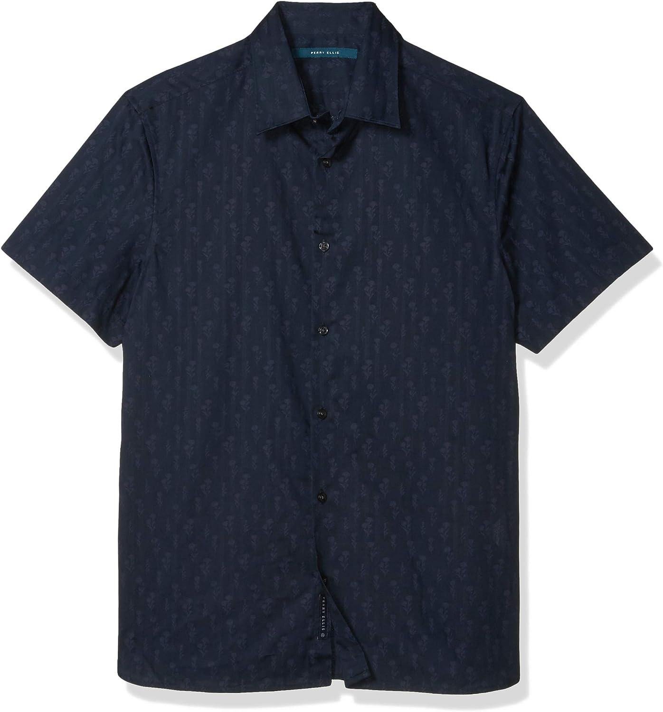 Perry Ellis Men's Floral on Stripe Print Short Sleeve Button-Down Shirt