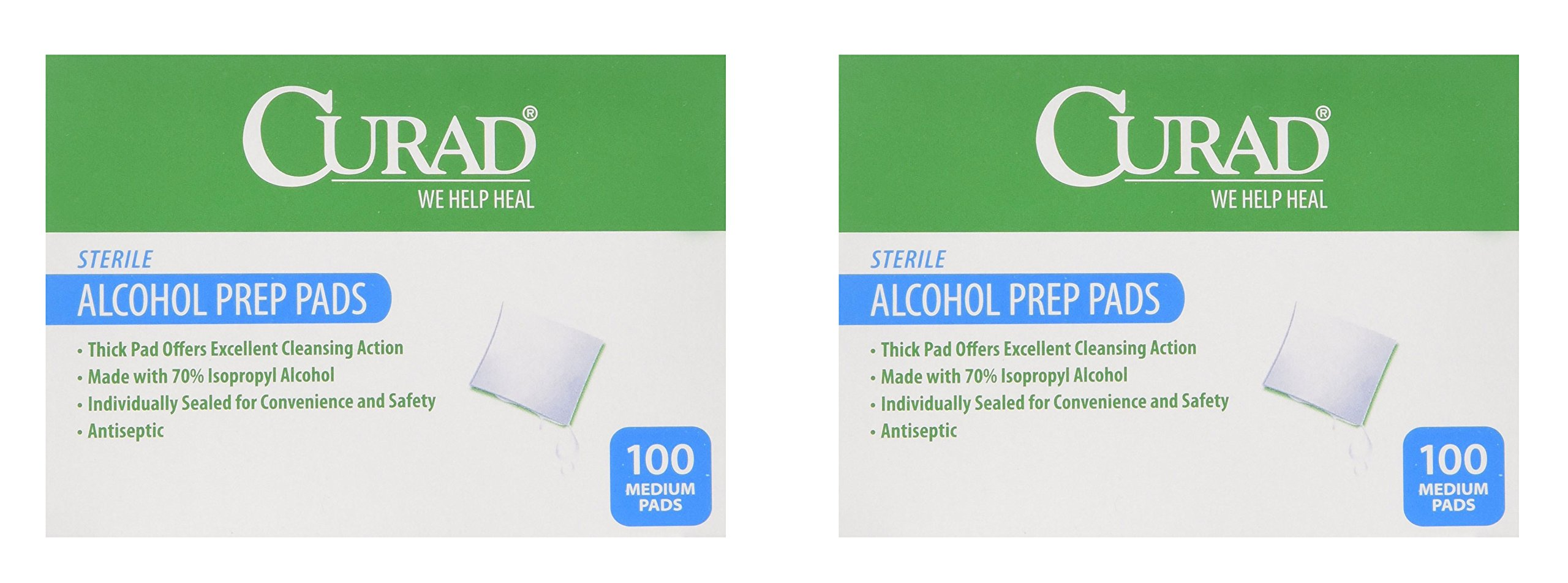 Curad Alcohol Swabs Antiseptic Prep Wipes Sterile Medium Pads Individually Sealed - Ideal for Pre-injection Skin Prepping, 400 Count, 2 Pack