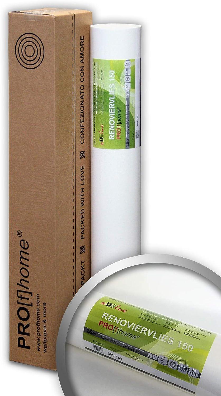 Tejido no tejido para aplicaciones de construcci/ón 150 g Profhome 399-150 revestimiento mural liso blanco pintable para reformas 1 rollo 18,75 m2