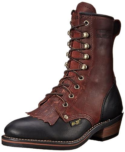 """Women's 8"""" Packer Black/Dark Cherry Work Boot"""