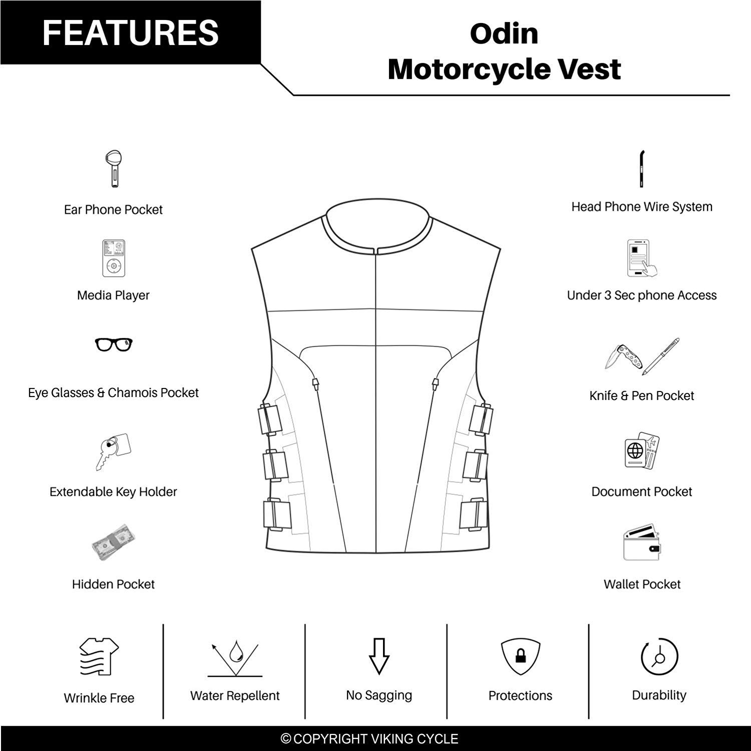 X-Small Viking Cycle Odin Leather Motorcycle Vest for Men
