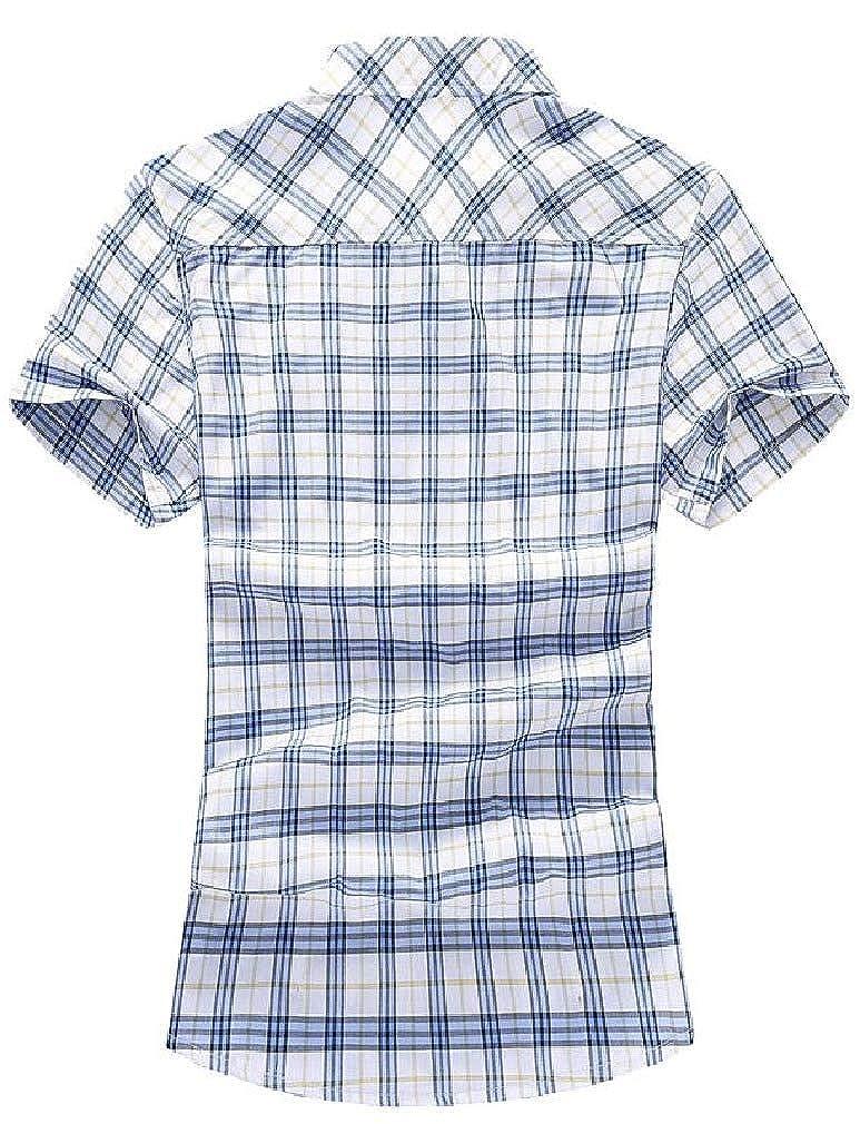 AngelSpace Mens Summer Silm Fit Short Sleeve Plaid Plus Size Dress Shirt