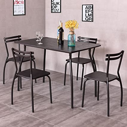 Amazon Com Costway 5 Piece Dining Set Table And 4 Chairs Home Kitchen Room Breakfast Furniture Garden Outdoor