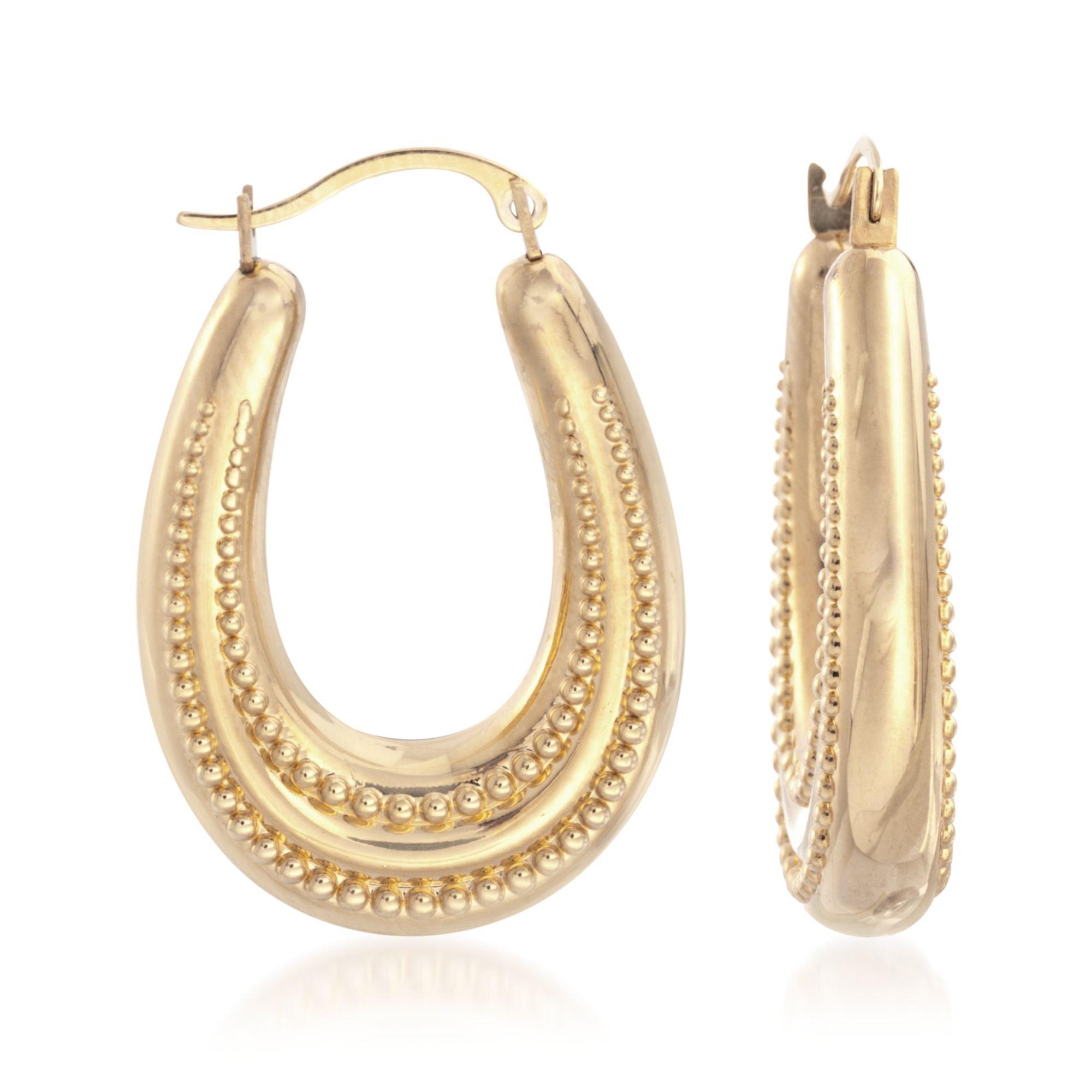Ross-Simons 14kt Yellow Gold Beaded Oval Hoop Earrings