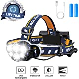 Rechargeable Headlamp, OUTERDO 12000 Lumens 6 LED 8 Modes USB Rechargeable HeadLight with 2 Batteries, Waterproof LED Head Torch Rechargeable Headlamp Flashlight for Camping, Fishing, Cellar, Outdoors