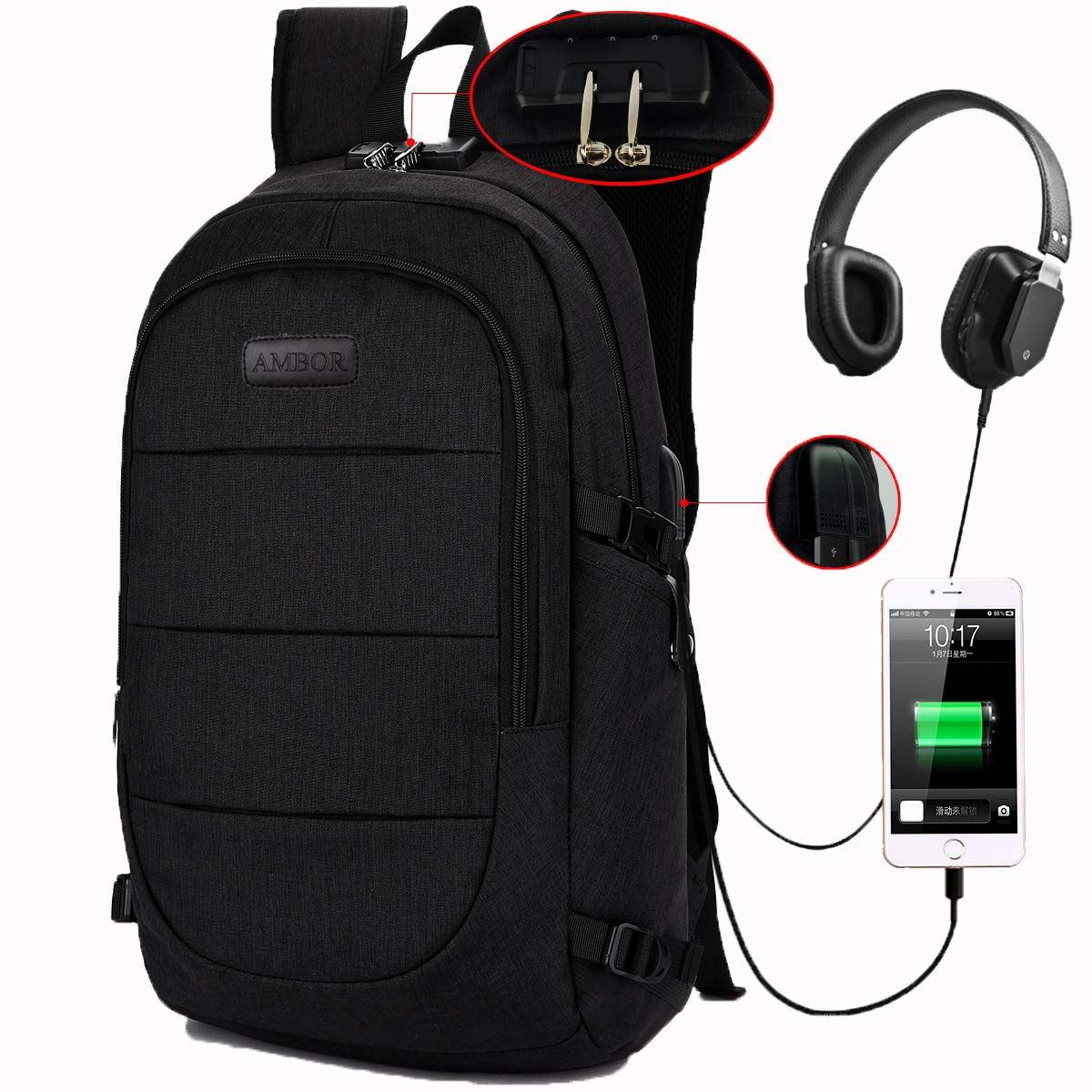 AMBOR Travel Laptop Backpack, Anti Theft Business Waterproof Laptop Backpack with USB Charging Port and Headphone Interface fits Under 15.6'' Laptop, for College Student Work Men & Women.Black by AMBOR
