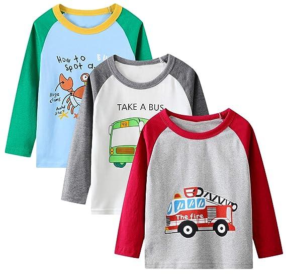 Boys Long Sleeve T-Shirt Cotton Casual Winter Crewneck Basic Active Tops Tee Tunic Shirts 3 Packs Sets