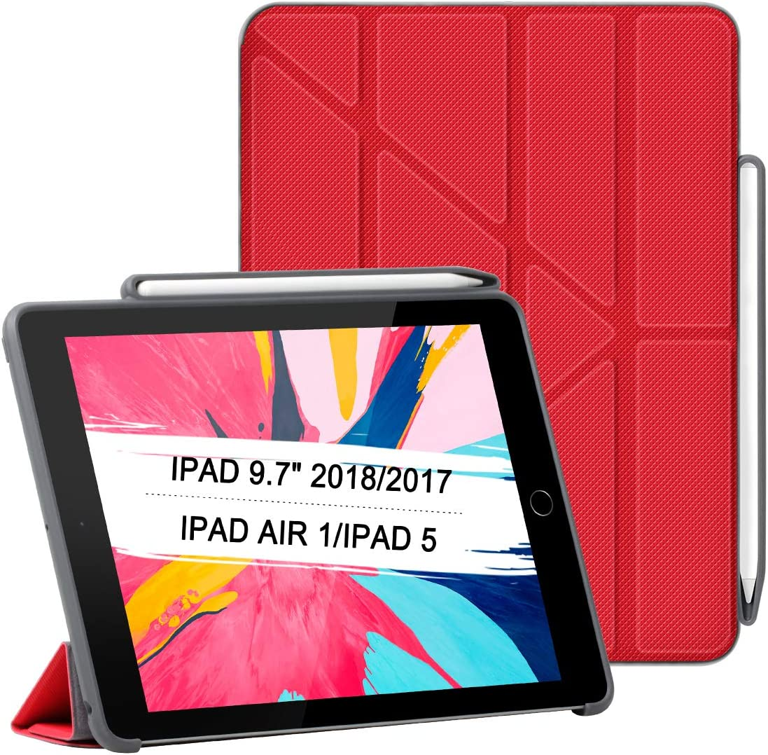 Premium Leather Stand Folio Case Cover with Apple Pencil Holder Auto Sleep/Wake Multi-Angles Read Type View Position Shockproof Drop Protection Cover for 2018/2017 iPad 9.7