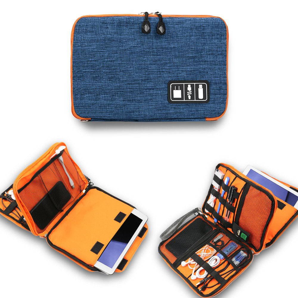 Universal Electronics Accessories Organizer, Waterproof Portable Cable Organizer Bag,Travel Gear Carry Bag for iPad Cell Phone Accessories Cable and Chargers (L, Blue)