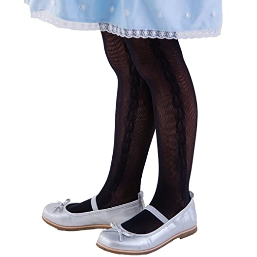 8473a3d30 FUN fun lace fishnet tights(Ribbon pattern at side) Kids Girls Dress Party  stockings