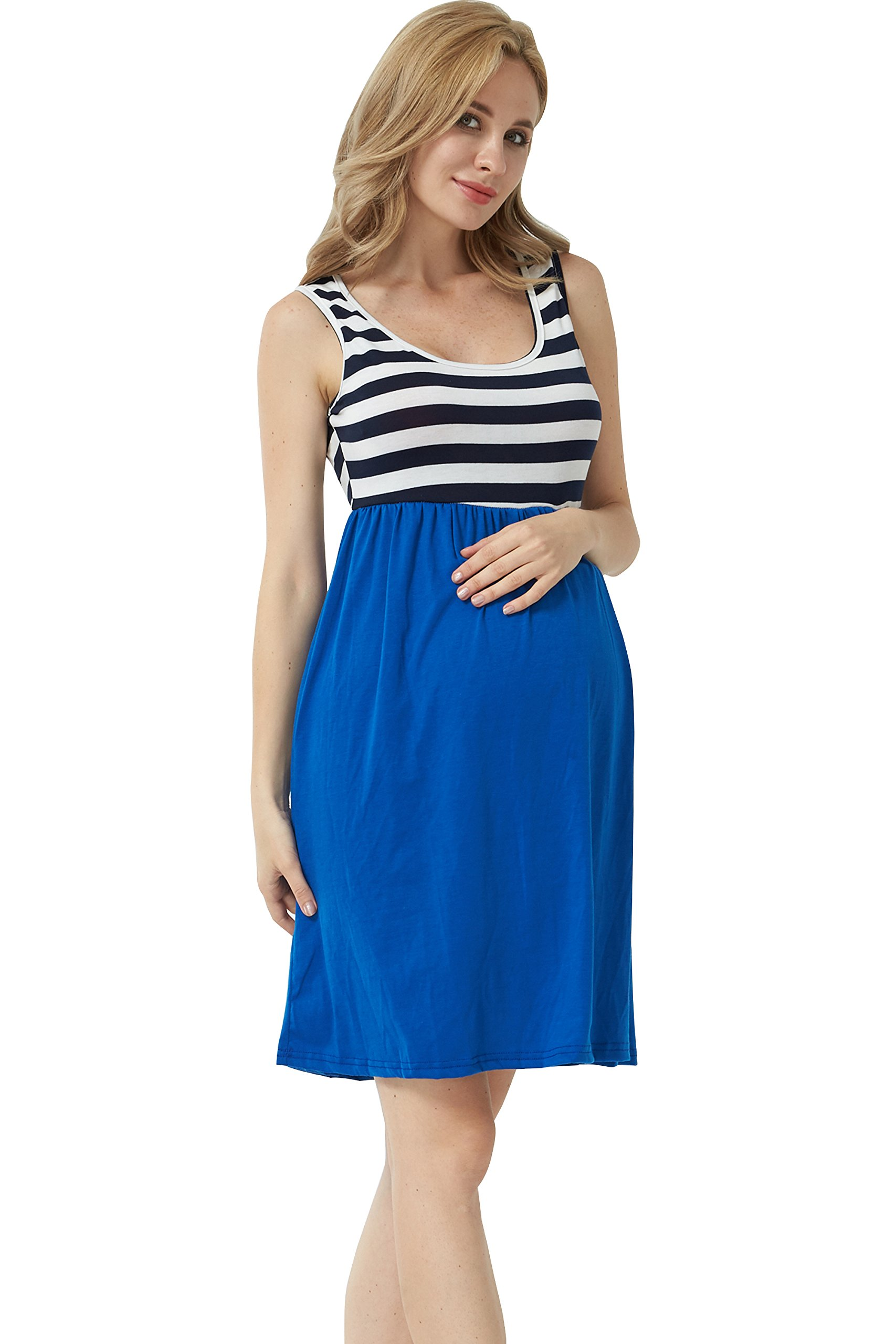 MANNEW Maternity Maxi Dress Pregnancy Tank Tops Knee Length Stitching Color Block Stripe Skirt (Blue, X-Large) by MANNEW (Image #3)