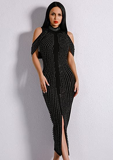 Missord Womens New Off Shoulder Beads Elegant Rivet Middle Split Bodycon Mid-Calf Dress: Amazon.co.uk: Clothing