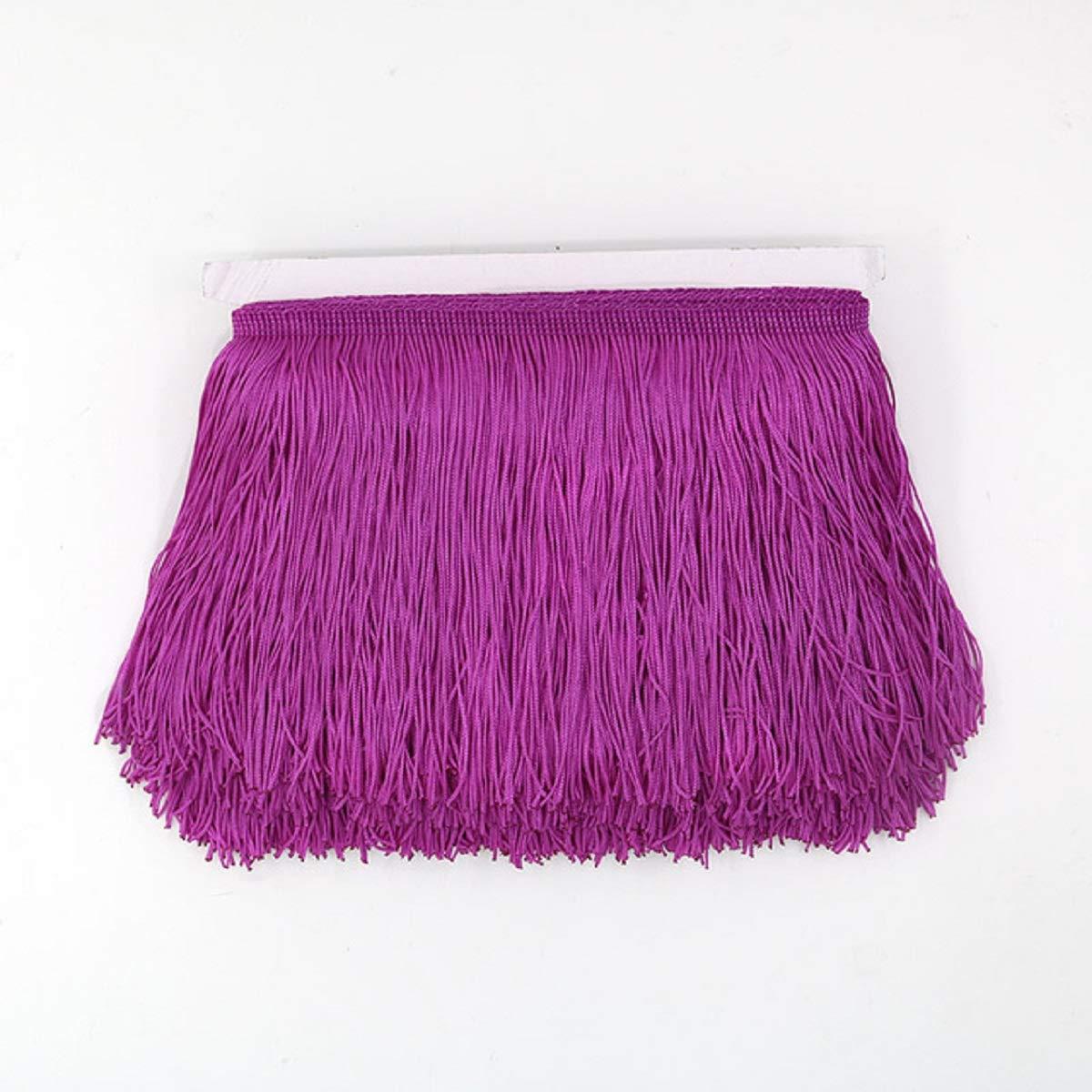 Samba accesorios de ropa 10 metros Deep Purple Cortina de encaje con flecos latinos de poli/éster y borla para manualidades Yalulu macram/é latino