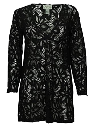 77844e4a8b J. VALDI Women's Lace Flower Print Cover UPS (S, Black) at Amazon Women's  Clothing store: