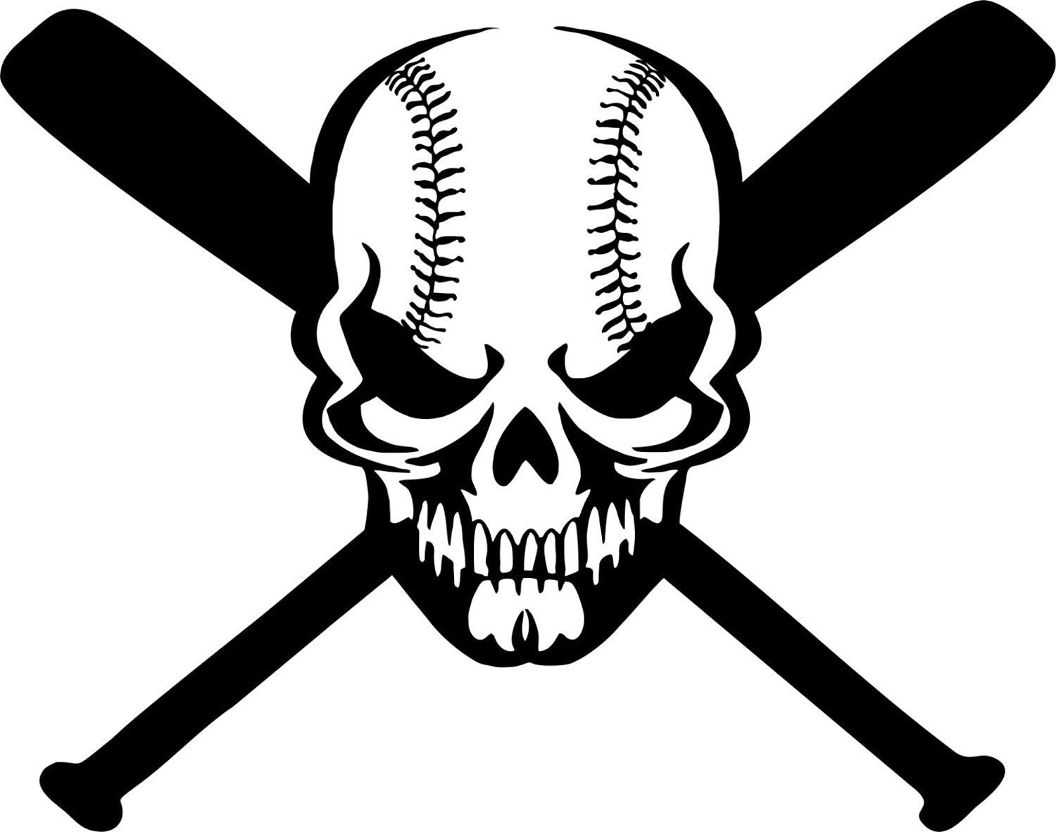 Skull Baseball Bat Game Sports Ball Car Window Laptop Vinyl Decal Sticker