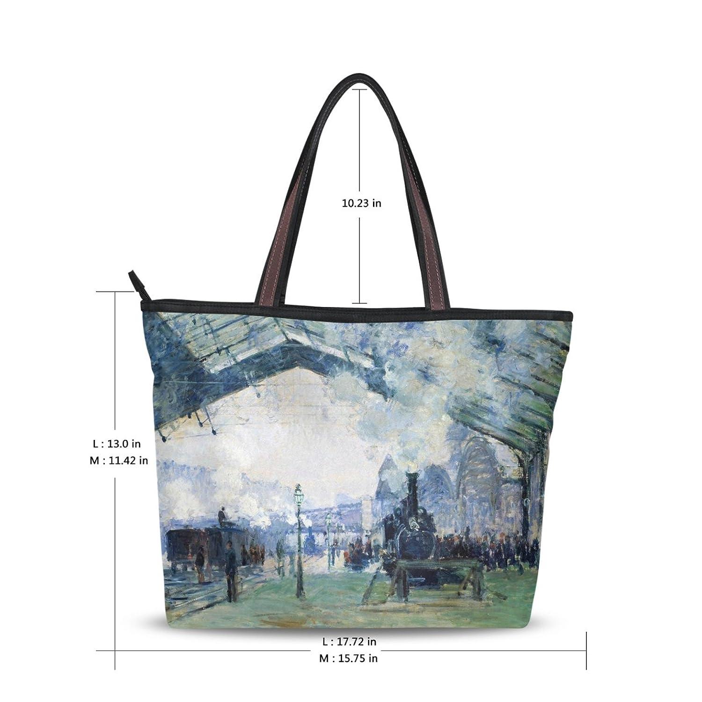 Women Large Tote Top Handle Shoulder Bags Normandy Train Ladies Handbag