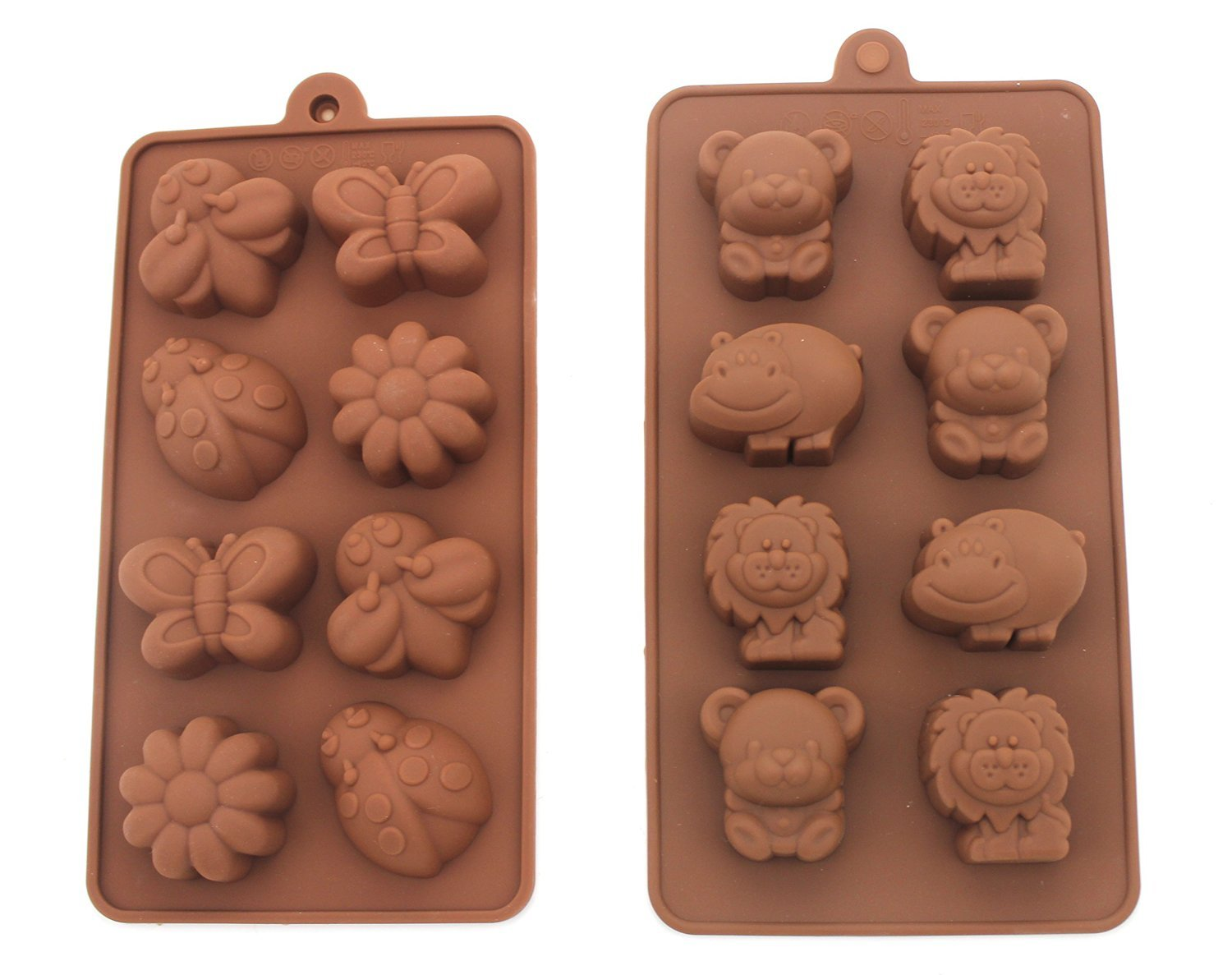 Romani Tech Non-Stick Candy, Chocolate, Jelly Silicone, Soap, Silicone Baking Molds, Forest Theme Animal and Insect Molds, Happy Bear, Lion, Hippo and Bee, Butterfly, Set of 2