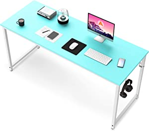 Computer Desk, 47 inch Blue Desk for Study Writing Gaming, Modern Home Office Working Workstation Table, Teens College Students Dorm Bedrooms Furniture, Blue Board with White Metal Frame