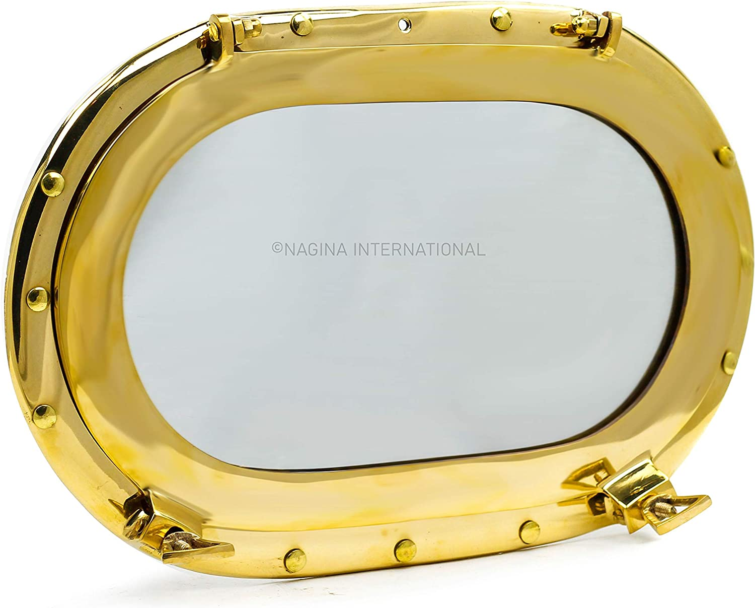 Nagina International Brass Heavy Solid Premium Polished Oval Porthole Mirror | Pirate's Exclusive Ship's Decor Gifts & Collectibles (Brass, 14 Inches)