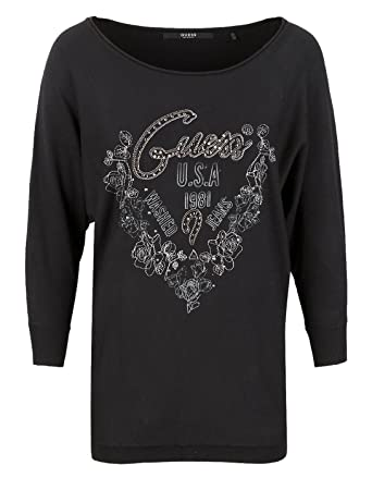 347ce2c64d91 Guess Embroidered Rhinestones sweater by (XS - Black): Amazon.co.uk:  Clothing