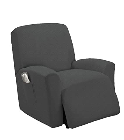 Charmant Golden Linens One Piece Stretch Recliner Chair Furniture Slipcovers With  Remote Pocket Fit Most Recliner Chairs