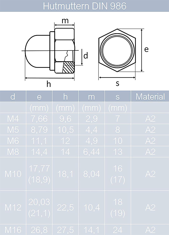 Beilagscheiben von MESAROS/® Schlossschrauben M5x12//12 mm mit selbstsichernden Hutmuttern /& Unterlegscheiben M5 aus Edelstahl A2 5 St/ück | Flachrundschrauben Stoppmuttern