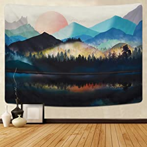 Uspring Mountain Tapestry Sunset Tapestry, Forest Tree Tapestry Nature Landscape Tapestry for Room (59.1 x 82.7 inches)