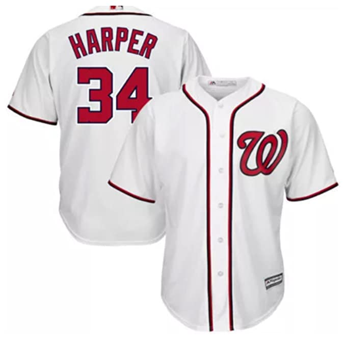 new products 92b3a 1a611 Bryce Harper Washington Nationals #34 MLB Youth White Cool Base Jersey  (Youth Medium 10/12)