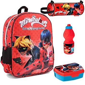 Amazon.com | School Bag Set Backpack Miraculous Ladybug Pencilcase Lunchbox Bottle Original | Kids Backpacks
