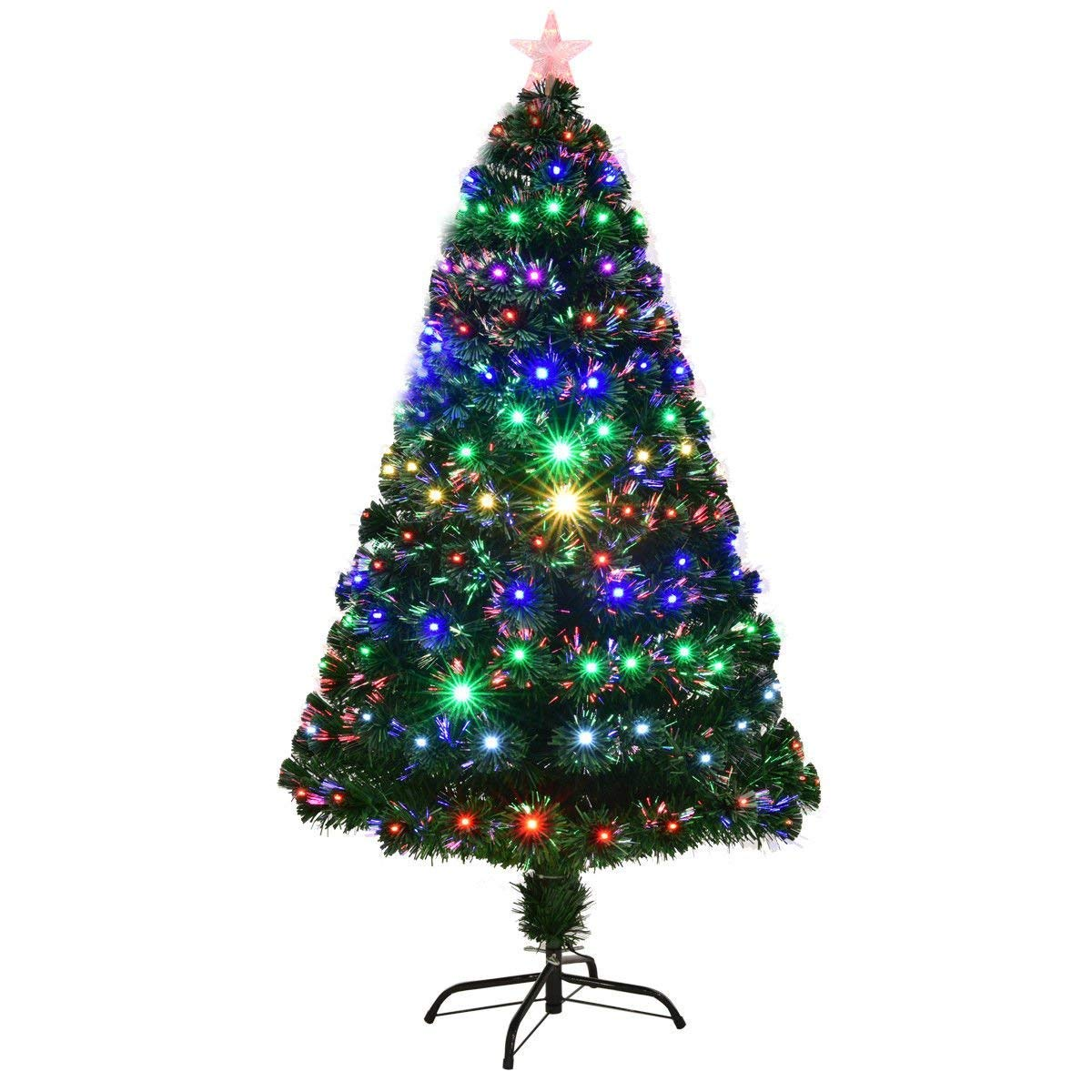 Goplus 5FT Artificial Christmas Tree Pre-Lit Optical Fiber Tree 8 Flash Modes W/UL Certified Multicolored LED Lights & Metal Stand Superbuy